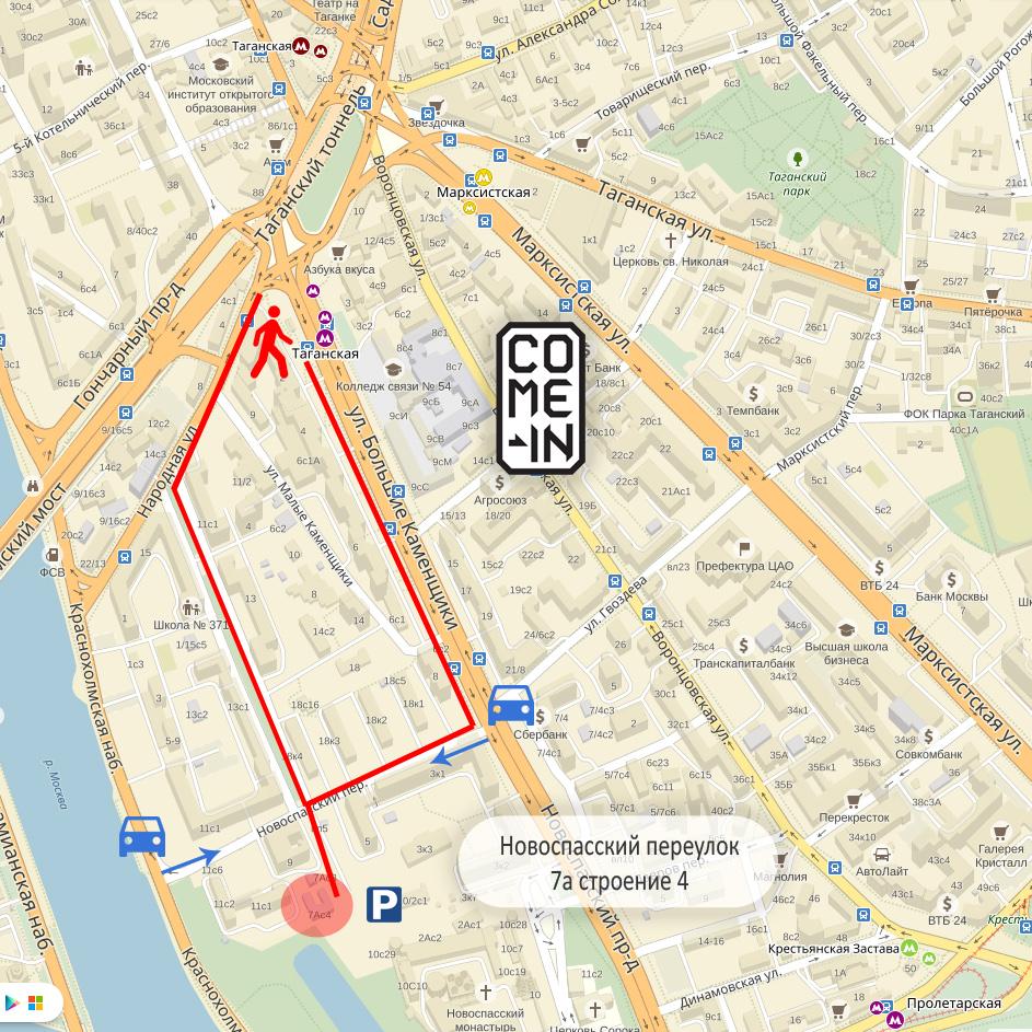 Карта культурного центра Come in